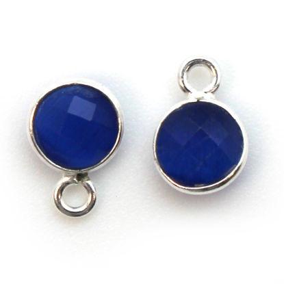 Wholesale Bezel Charm Pendant - Sterling Silver Charm - Blue Monalisa - Tiny Circle Shape - 7mm