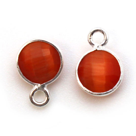 Wholesale Bezel Charm Pendant - Sterling Silver Charm - Orange Monalisa - Tiny Circle Shape - 7mm