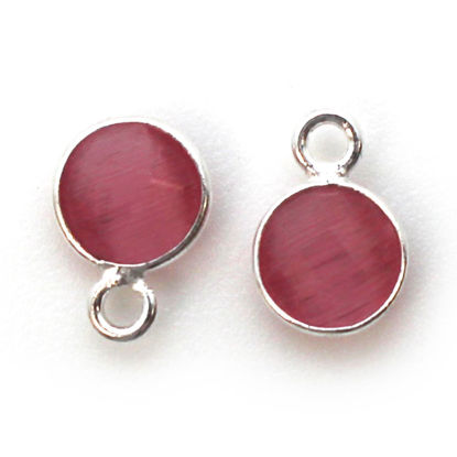 Wholesale Bezel Charm Pendant - Sterling Silver Charm - Pink Monalisa - Tiny Circle Shape - 7mm