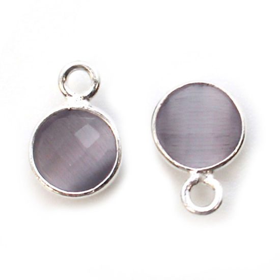 Wholesale Bezel Charm Pendant - Sterling Silver Charm - Grey Monalisa - Tiny Circle Shape - 7mm