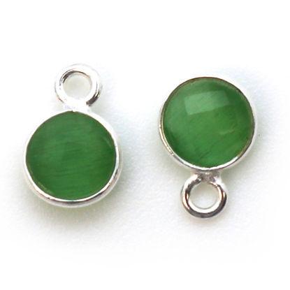 Wholesale Bezel Charm Pendant - Sterling Silver Charm - Green Monalisa - Tiny Circle Shape - 7mm