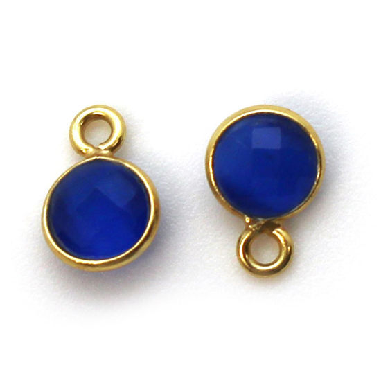 Wholesale Bezel Charm Pendant - Gold Plated Sterling Silver Charm - Blue Monalisa - Tiny Circle Shape - 7mm