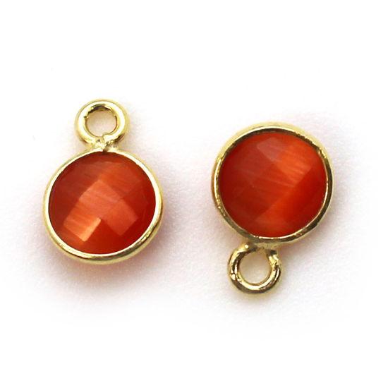Wholesale Bezel Charm Pendant - Gold Plated Sterling Silver Charm - Orange Monalisa - Tiny Circle Shape - 7mm