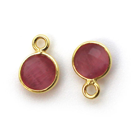 Wholesale Bezel Charm Pendant - Gold Plated Sterling Silver Charm - Pink Monalisa - Tiny Circle Shape - 7mm