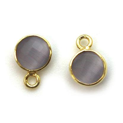 Wholesale Bezel Charm Pendant - Gold Plated Sterling Silver Charm - Grey Monalisa - Tiny Circle Shape - 7mm
