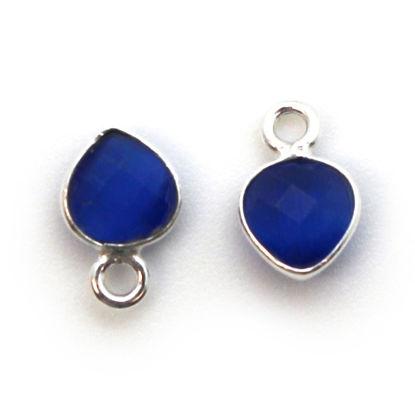 Wholesale Bezel Charm Pendant - Sterling Silver Charm - Blue Monalisa - Tiny Heart Shape - 10 x 7mm