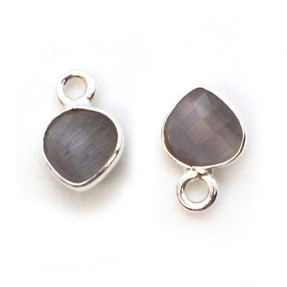 Wholesale Bezel Charm Pendant - Sterling Silver Charm - Grey Monalisa - Tiny Heart Shape - 10 x 7mm