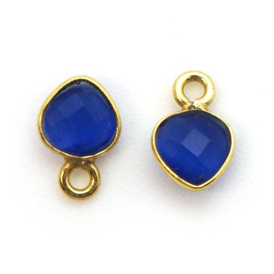 Wholesale Gold Over Sterling Silver Bezel Charm Pendant - 10 x 7mm Tiny Heart Shape - Blue Monalisa