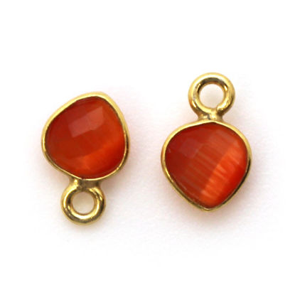 Wholesale Bezel Charm Pendant - Gold Plated Sterling Silver Charm - Orange Monalisa - Tiny Heart Shape - 10 x 7mm
