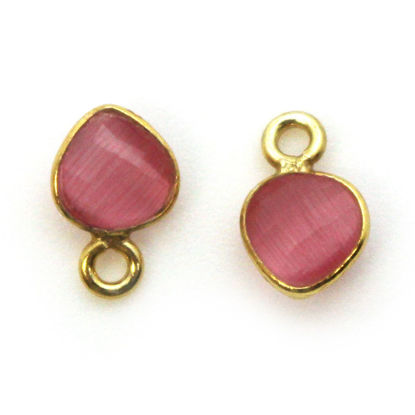 Wholesale Bezel Charm Pendant - Gold Plated Sterling Silver Charm - Pink Monalisa - Tiny Heart Shape - 10 x 7mm