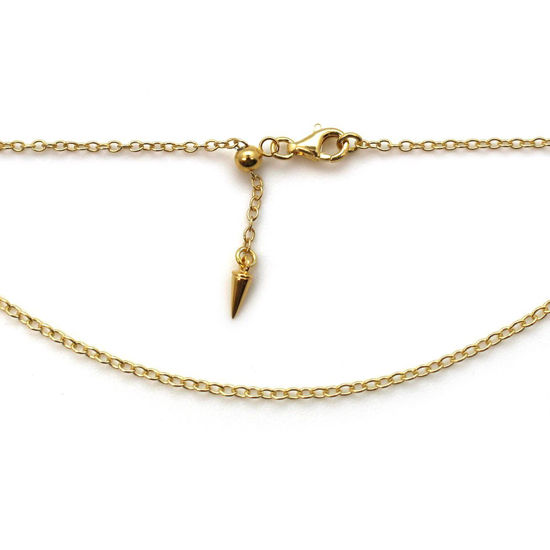Wholesale Gold Over Sterling Silver Adjustable Finished Chain - Strong Cable Chain