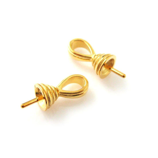 Wholesale Gold plated Sterling Silver Fancy Bead Cap with Post, Wholesale Findings