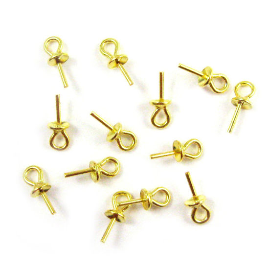 Wholesale Gold plated over Sterling Silver Peg Bail Cap for Half Drilled Beads and Pearls, Wholesale Findings