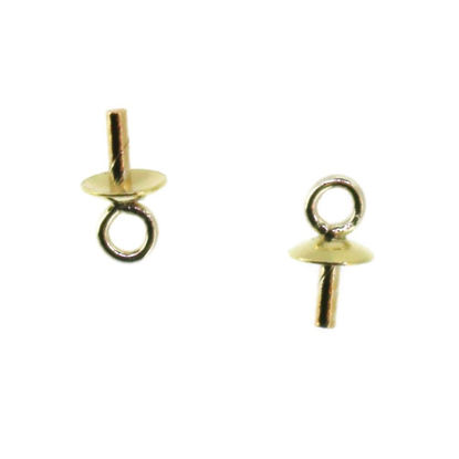 Wholesale 14K Yellow Gold Pearl Cap-Plain Pearl Cup with Peg and Jump Ring (3mm) (2 pieces)