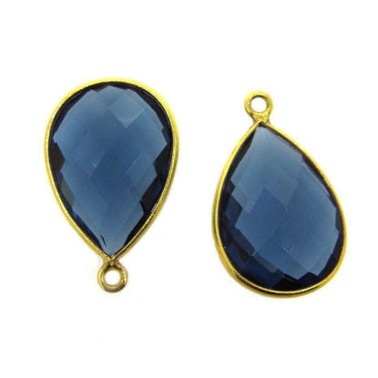 Wholesale Gold plated Sterling Silver Teardrop Bezel Iolite Quartz Gemstone Pendant, Wholesale Gemstone Pendants for Jewelry Making
