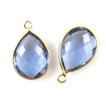 Wholesale Gold plated Sterling Silver Teardrop Bezel Iolite Quartz Gemstone Pendant, Wholesale Gemstone Pendants for Jewelry Making