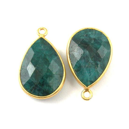 Wholesale Gold plated Sterling Silver Teardrop Bezel Dyed Emerald Gemstone Pendant, Wholesale Gemstone Pendants for Jewelry Making