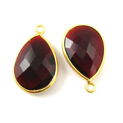 Wholesale Gold plated Sterling Silver Teardrop Bezel Garnet QuartzGemstone Pendant, Wholesale Gemstone Pendants for Jewelry Making