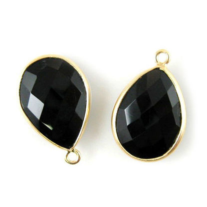 Wholesale Gold plated Sterling Silver Teardrop Bezel Black Onyx Gemstone Pendant, Wholesale Gemstone Pendants for Jewelry Making