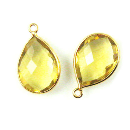 Wholesale Gold plated Sterling Silver Teardrop Bezel Lemon Quartz Gemstone Pendant, Wholesale Gemstone Pendants for Jewelry Making