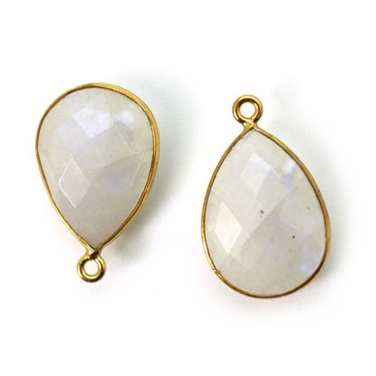 Wholesale Gold plated Sterling Silver Teardrop Moonstone Bezel Gemstone Pendant, Wholesale Gemstone Pendants for Jewelry Making