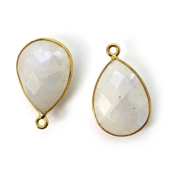 Wholesale Gold plated Sterling Silver Teardrop Moonstone Bezel Gemstone Pendant, Wholesale Gemstone Pendants for Jewelry Making
