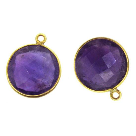 Wholesale Gold plated Sterling Silver Round Bezel  Amethyst Quartz Gemstone Pendant, Wholesale Gemstone Pendants for Jewelry Making