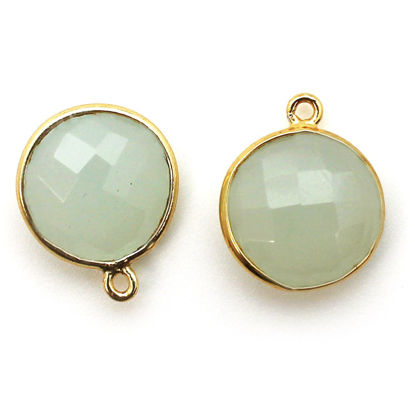 Wholesale Gold plated Sterling Silver Round Bezel Aqua Chalcedony Gemstone Pendant, Wholesale Gemstone Pendants for Jewelry Making