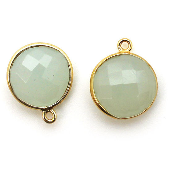 Wholesale Gold plated Sterling Silver Round Bezel Aqua Chalcedony Gemstone Pendant, Wholesale Gemstone Pendants for Jewelry Making