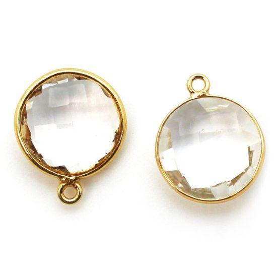 Wholesale Gold plated Sterling Silver Round Bezel Crystal Quartz Gemstone Pendant, Wholesale Gemstone Pendants for Jewelry Making