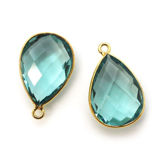 Wholesale Gold plated Sterling Silver Teardrop Bezel Aqua Quartz Gemstone Pendant, Wholesale Gemstone Pendants for Jewelry Making