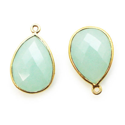 Wholesale Gold plated Sterling Silver Teardrop Bezel Aqua Chalcedony Gemstone Pendant, Wholesale Gemstone Pendants for Jewelry Making