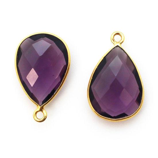 Wholesale Gold plated Sterling Silver Teardrop  Amethyst Quartz Bezel Gemstone Pendant, Wholesale Gemstone Pendants for Jewelry Making