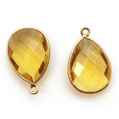 Wholesale Gold plated Sterling Silver Teardrop Bezel Citrine Quartz Gemstone Pendant, Wholesale Gemstone Pendants for Jewelry Making