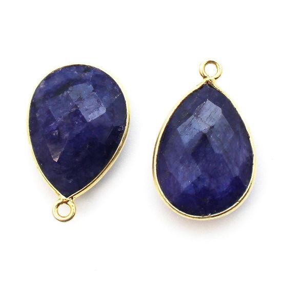 Wholesale Gold plated Sterling Silver Teardrop Bezel Blue Sapphire Dyed Gemstone Pendant, Wholesale Gemstone Pendants for Jewelry Making