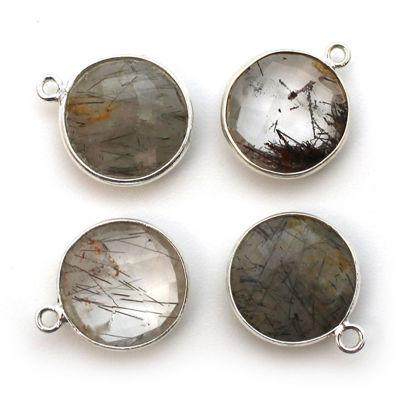 Wholesale Sterling Silver Round Bezel Black Rutilated Quartz Gemstone Pendant, Wholesale Gemstone Pendants for Jewelry Making