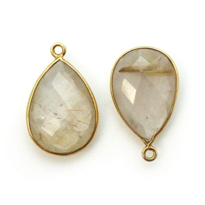 Wholesale Bezel Gemstone Pendant - Gold plated Bezel- 13x18mm Faceted Pear Shape - Gold Rutilated Quartz