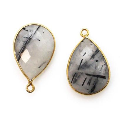 Wholesale Bezel Gemstone Pendant - Gold plated Bezel- 13x18mm Faceted Pear Shape - Black Rutilated Quartz