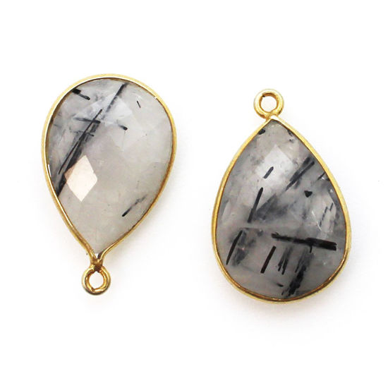 Wholesale Bezel Gemstone Pendant - Gold plated Bezel- 13x18mm Faceted Pear Shape - Black Rutilated Quartz
