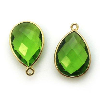 Wholesale Gold plated Sterling Silver Teardrop Bezel Peridot Quartz Gemstone Pendant, Wholesale Gemstone Pendants for Jewelry Making