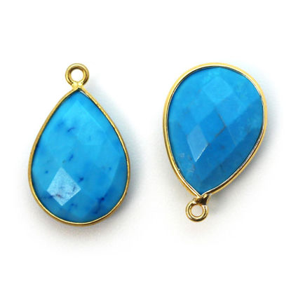 Wholesale Gold plated Sterling Silver Teardrop Bezel Turquoise Gemstone Pendant, Wholesale Gemstone Pendants for Jewelry Making