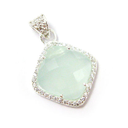 Wholesale Sterling Silver Aqua Chalcedony Bezel Gemstone Diamond Shape Pave Pendant, Wholesale Gemstone Pendants for Jewelry Making