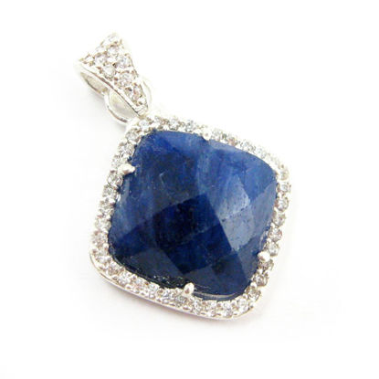 Wholesale Sterling Silver Blue Sapphire Dyed Bezel Gemstone Diamond Shape Pave Pendant, Wholesale Gemstone Pendants for Jewelry Making