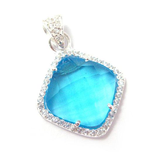 Wholesale Oxidized Sterling Silver Blue Topaz Quartz Bezel Gemstone Diamond Shape Pave Pendant, Wholesale Gemstone Pendants for Jewelry Making