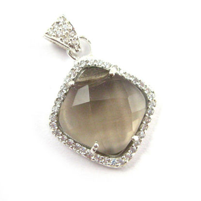 Wholesale Oxidized Sterling Silver Smokey Quartz Bezel Gemstone Diamond Shape Pave Pendant, Wholesale Gemstone Pendants for Jewelry Making
