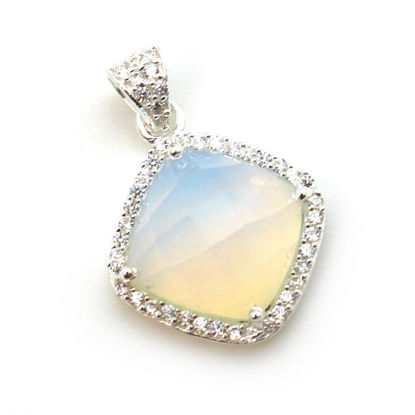Wholesale Oxidized Sterling Silver Opalite Quartz Bezel Gemstone Diamond Shape Pave Pendant, Wholesale Gemstone Pendants for Jewelry Making