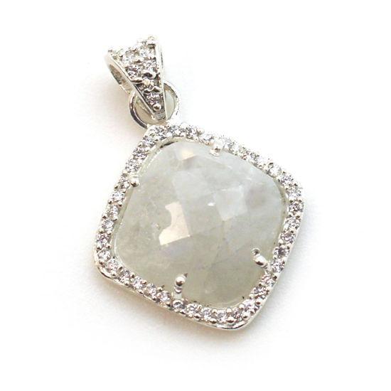 Wholesale Sterling Silver Moonstone Bezel Gemstone Diamond Shape Pave Pendant, Wholesale Gemstone Pendants for Jewelry Making