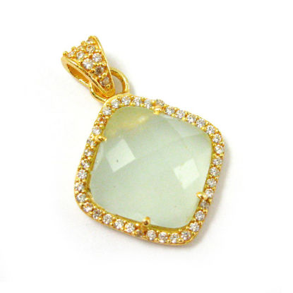 Wholesale Gold plated Sterling Silver Aqua Chalcedony Bezel Gemstone Diamond Shape Pave Pendant, Wholesale Gemstone Pendants for Jewelry Making