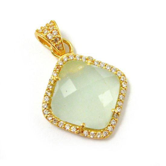 Wholesale Gold plated Sterling Silver Aqua Chalcedony Bezel Gemstone Diamond Shape Pave Pendant, Wholesale Gemstone Pendants for Jewelry Making