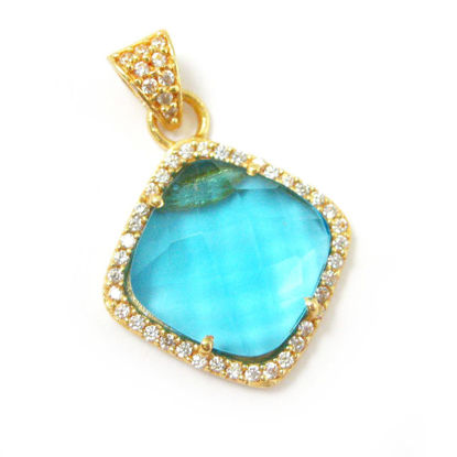 Wholesale Gold plated Sterling Silver Blue Topaz Quartz Bezel Gemstone Diamond Shape Pave Pendant, Wholesale Gemstone Pendants for Jewelry Making